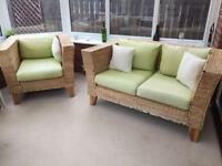 Rattan furniture 2 seater sofa and 2 arm chairs