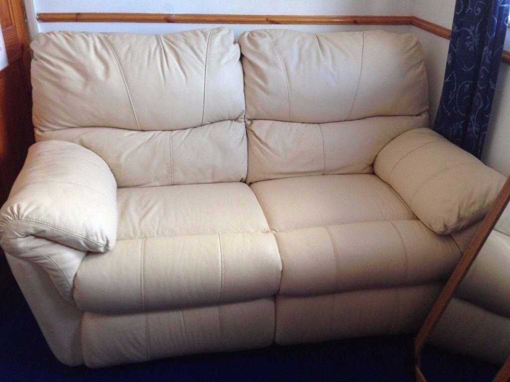 Settee / Sofa - Real Leather - Large 3 seater & 2 seater - Ivory Berkline - Cream