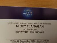 Micky Flanagan 02 london 2x tickets fri 22nd sept