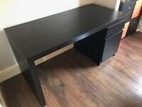 Desk (IKEA MALM in black and brown)