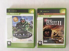"XBOX ORIGINAL GAMES CLASSICS ""HALO"" and ""DESERT STORM 11"" with MANUALS"