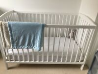 Baby cot and mattress in excellent condition