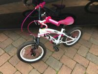 Avigo beau girls pink and white bicycle 16 inch 1 gear junior trail bike with V brakes