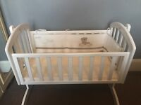 baby swinging crib with mattress and bumper