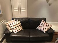 Brown leather double sofa bed and two seater sofa