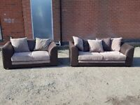 Fantastic brown and beige corded sofa suite. 3 and 2 seater sofas.1 month old, delivery available