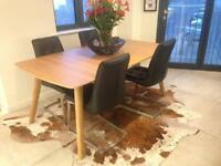 Oak table/2 leaves/ leather chairs (8)