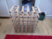 30 Bottle Wine Rack. Wood And Galvanised Steel.
