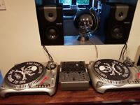 DJ decks full set up with vinyl