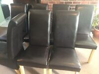 8 - Black/Brown leather style high back dining chairs