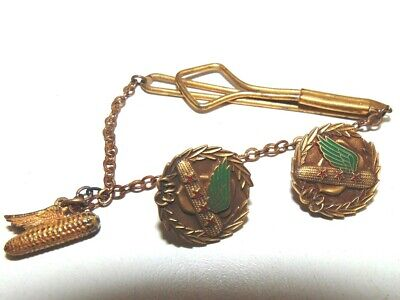 Vintage Dekalb Seed Corn Service Pins, 30 and 40 yrs., Tie Clip-w/chain and charm