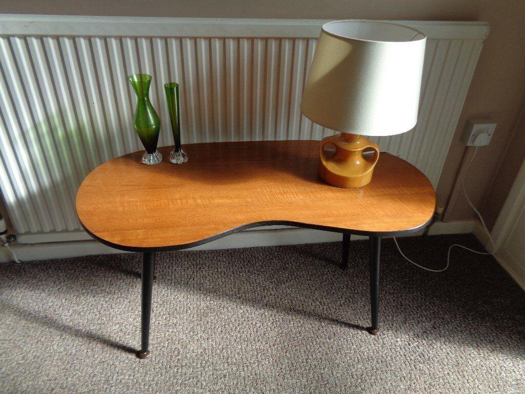 Vintage Retro Kidney Shaped Teak Coffee Table