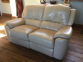 2 x 2 Seater, Recliner Sofa in Cream Leather