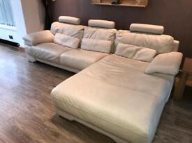 Real leather 4 seater chaise in dove by CSL