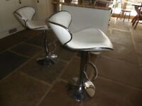 A Pair of Quality, White Kitchen Bar Stools.