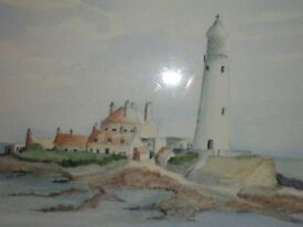 Original watercolour - St Mary's Island Whitley Bay