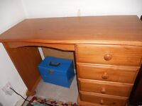 For sale: A pine desk with 4 drawers. Alternatively can be used as a dressing table.