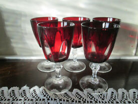 set of 5 Vintage Cristal D'Arques ruby/clear wine glasses - NOW REDUCED