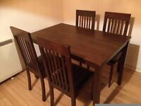Dining table with four chairs, very good condition, very reasonable price!
