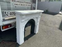 Heavy white wood fireplace £69