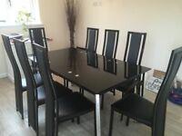Noir Black Gloss Extending Dining Table & 8 Nova Chairs