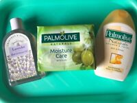 2 Unused body washes plus Palmolive soap