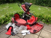 Quinny Buzz Pram, Carry Cot and Maxi Cosi Car Seat - Red