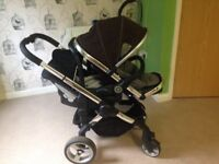 Double pram icandy with car seat and rain cover