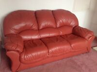 """""""3 seater"""" and """"single seater"""" Red Leather sofas """"FREE"""""""