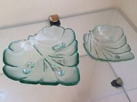 Glass Leaf Bowls Set