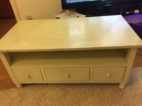 White tv unit with 3 drawers