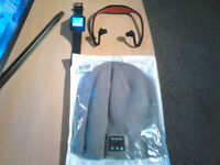 BLUETOOTH GADGETS NEW HAT - NEW EARPHONES - WATCH