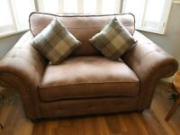 DFS Oakland Formal Cuddler 2-Seater Sofa - Brown - RRP £807 - As New Condition