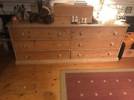 Large solid pine double chest of drawers - East Putney
