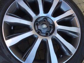 "4x GENUINE 21"" RANGE-ROVERL 405 Polished Diamond Alloy Wheels & Tyres Style 101"
