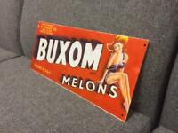 Buxom Melons rare Repro Vintage Retro Advertising display shop metal sign SDHC