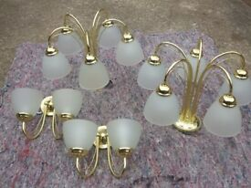 two pairs of wall and ceiling lights
