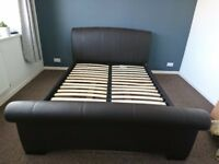 King Size faux Brown leather bed frame