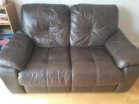 Brown leather sofa.