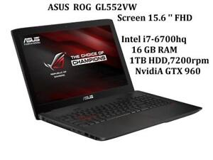 ASUS ROG G552VW 15.6'' FHD, Intel -i7-6700HQ 16GB , 1TB, Nvidia GTX 960 , Mc Office Pro 2016