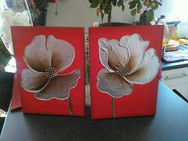 Red flower canvases
