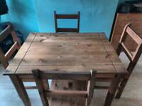 Carona pine dining table four chairs