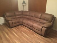 Brown leather dual electric reclining corner sofa