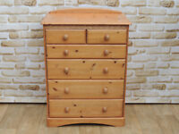 Crafted Pine wooden chest of Drawers M&S (Delivery)