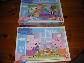 Several Peppa Pig boxed jigsaws