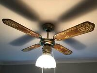 Wooden & Brass Propeller Ceiling Fan & Light