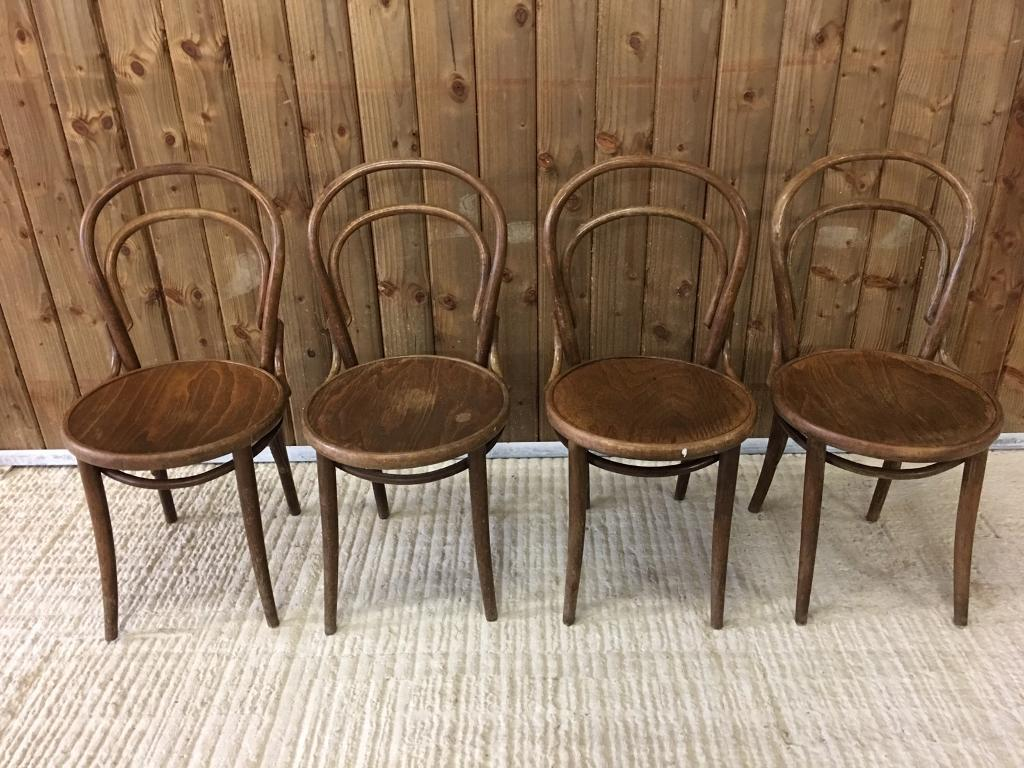 Vintage bentwood chairs - 4 X Vintage Bentwood Wooden Chairs 1940 S Cafe Bistro Bar Kitchen Qty Available