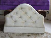 Single bed headboard in beige upholstery