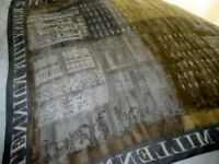 Chic Scarf, Architectural Theme, Gold, Grey, White - 81cm x 81cm (32 inches x 32 inches)