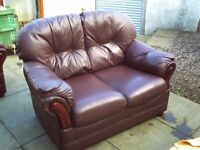 Two Seater Brown traditionally styled Leather Sofa, Can deliver locally